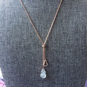 18k rose gold Jade necklace 16'inch